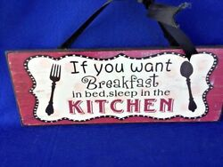 Vintage Breakfast In Bed Kitchen Wall Decor Wood Plaque ▬ Primitive Sign ▬ ❤️