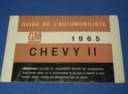 1965 Chevy Ii Nova French Canadian Owners Manual Guide --very Nice--