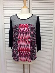 Pullover 3 4 Sleeve Tunic Top BohemianSmall New Directions NWT