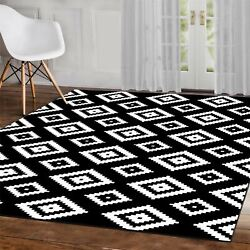 Grey Black White Contemporary Patterned Rugs Modern Geometric Design Rug Mats