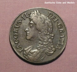 1688 King James Ii Silver Crown - Nice Grade Coin With Ticket