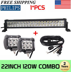 22inch 120w S/f Combo Led Light Bar + 4inch 18w Pods Lights 20 + Wiring Harness