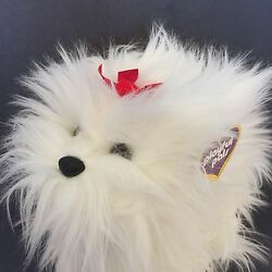 Playful Pals White Shaggy Dog Plush Puppy Mervyns Red Bow Terrier Stuffed Animal