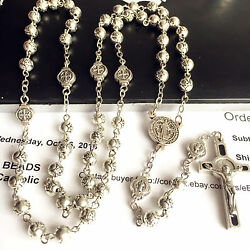 St.benedict Rosary And Italy Crucifix Cross Silver Rose Beads Catholic Necklace