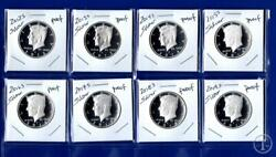 2012 S -2019 S Silver Proof Kennedy Half Dollar Set-8 Silver Proof Coins