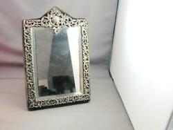 Early Sterling Repousse Gorham Beveled Glass Standing Vanity Mirror