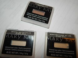 Lot 3 Mary Kay Mineral Eye Shadow Crystalline Moonstone Rosegold 05 OZ.Brushes
