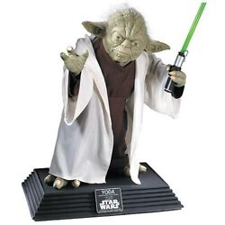 Rubies Star Wars Yoda 11 Replica Life Size Collectible Statue W/ Lightsaber New