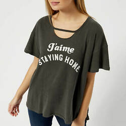 Nwt Wildfox Couture Staying Home Rivo Tee Shirt Pigment Black Sz Xs