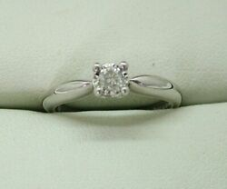 Lovely 18 Carat White Gold And 0.15 Carat Diamond Solitaire Ring Size N