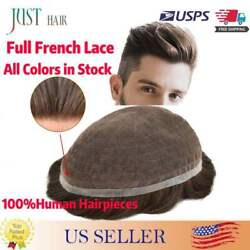 Us Full French Lace Men Toupee Breathable Wigs Hairpiece Remy Human Hair Systems