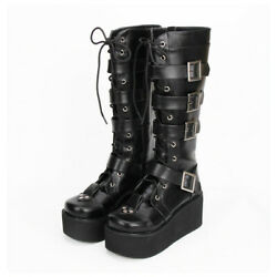 Womens Goth Boots Buckles Platform Wedge Knee High Boots Punk Lace Up Big Shoes
