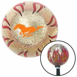 Orange Mustang Clear Flame Metal Flake Shift Knob With M16 X 1.5 Insert
