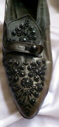 Original 1910s-1920s Jet Beaded Womenand039s Leather Shoes Size 5