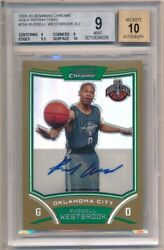 RUSSELL WESTBROOK 2008/09 BOWMAN CHROME RC GOLD REFRACTOR AUTO /25 BGS 9 MINT 10