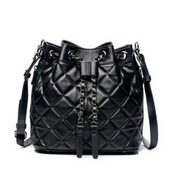 Women Lambskin Quality Classic Bucket Bags Quilted Crossbody Shoulder Purse $69.99