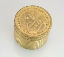 1892 Columbus 400th Anniversary Gold Gilt Coin Stack Container Box W/ Lid 33.3g