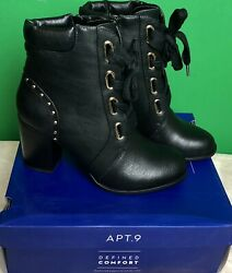 Apt 9 Dial Black High Block Heel Ankle Boots Size 9 NEW!