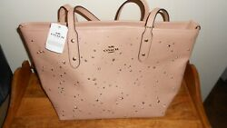 Nwt Coach F29129 Studded Stellar Crossgrain Leather City Zip Top Tote Purse Pink