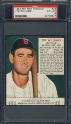 1952 Red Man Tobacco #23 Ted Williams PSA 6 Boston Red Sox HOF