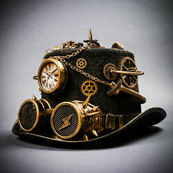 New Black Gold Gothic Top Hat Halloween W/ Clock Spike Costume Steampunk Goggles
