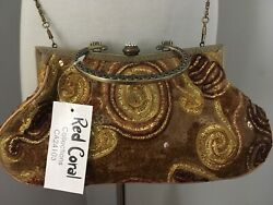 Evening BagClutchFormalBoho BronzeGoldBrown Sequence_New w Tags _Red Coral