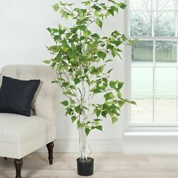 Large Indoor Outdoor Fake Artificial 5 Foot Birch Tree Plant in Pot with Leaves