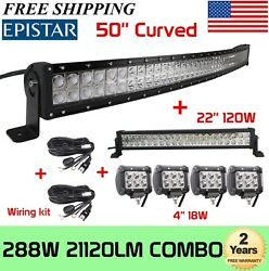 50inch 288w Curved Led Light Bar+22in 120w+4x4 18w Pods Offroad Truck+2x Wires