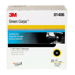 3m 1406 25-pc. 50 Grade Green Corps 3 In. Roloc Discs New