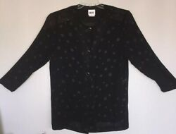 Leslie Fay Women's Sz 18 Satin Sheen Cover Blouse Black With Polka Dots