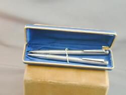 Estate Hallmarked Ribbed Sterling Ballpoint Pen And Mechanical Pencil Set In Box