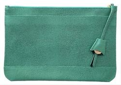 Dooney And Bourke Pebbled Leather Oversized Belize Anna Turquoise Blue Clutch Nwt
