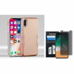 For iPhone XS/X Tuff Hybrid PC/TPU Rubber Case Rose Gold w/Screen Privacy Filter