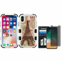For iPhone XS/X Eiffel Tower Hybrid PC/TPU Rubber Case w/Screen Privacy Guard