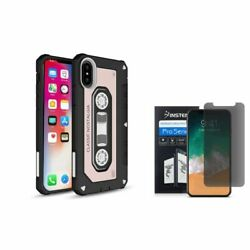 For iPhone XS/X Cassette Hybrid PC/TPU Rubber Case Cover w/Screen P