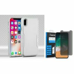 For iPhone XS/X Hybrid PC/TPU Rubber Case Silver w/Glass Privacy Screen Guard