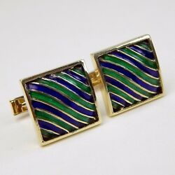 Pair Of Square Blue And Green Enamel Wavy Cufflinks Cuff Links 14 Kt Gold A7694