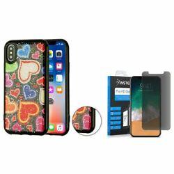 For iPhone XS/X Hearts TPU Rubber Candy Skin Case w/Glass Privacy Screen Guard