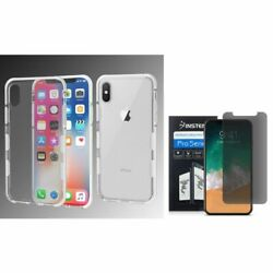 For Apple iPhone XS X Bumper Rubber Case Cover w/Privacy Screen Protector