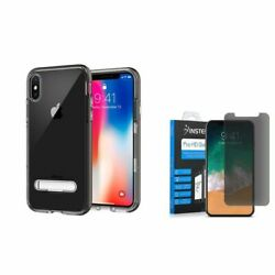 For iPhone XS X Rubber Shockproof Hard Case w/Privacy Glass Screen Protector