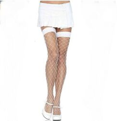 Sexy White Fence Net Thigh Highs One Size Lingerie Fishnet Stockings New Club