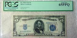 Fr. 1650 1934 5 Silver Certificate Pcgs 65ppq Blue Seal Low Serial 322