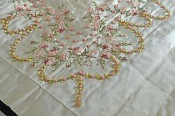 19th C. French Antique Decorated Silk Faille Panel Beads And Rosettes Uu697