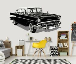 3d Black Oldtimer A136 Car Wallpaper Mural Poster Transport Wall Stickers Zoe