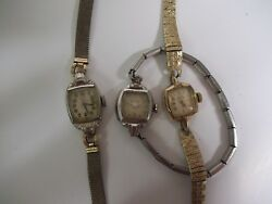 3 Vintage Or Antique Gold Ladies Watch, 2 Elgin And 1 Bulova, For Parts Or Repair.