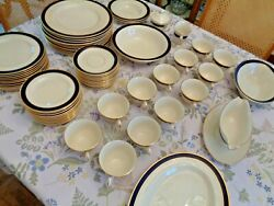 Pickard Special Made Cobalt With White And Gold Trim 12 Place Settings China