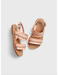5 6 7 8 BABY GAP Kids STRAP Beige Metallic Braided Sandals Toddler Girl NWT $11.99