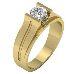 Solitaire Menand039s Engagement Genuine Diamond Ring I1 G 1.25 Carat 14k Yellow Gold