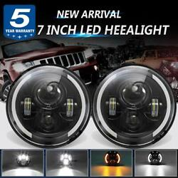 2pc Dot 7 Inch Round Led Headlights Black Fits For Toyota Nissan Volkswagen