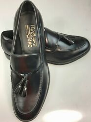 SALVATORE FERRAGAMO SHOES BLACK BRUSH CALF TASSEL VAMP SASHA LOAFER 9 EEE 42 NEW